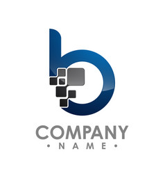 business corporate letter b logo design colorful vector image