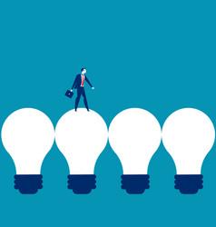 Businessman walking on light bulb concept vector