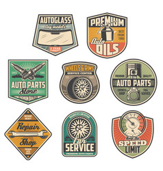 Car service station spare parts shop icons vector