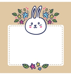Card background with rabbit flowers and space for vector image