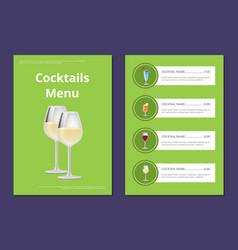 Choose refreshing alcohol beverage bar card vector