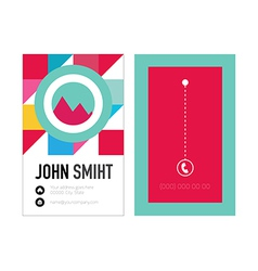 Clean Style Business card with colorful triangles vector