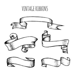 collection vintage hand drawn ribbons made in vector image