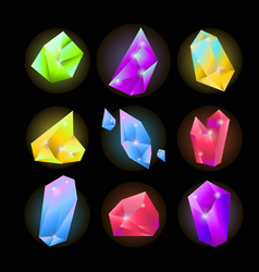 Colorful crystals of various shapes set on black vector