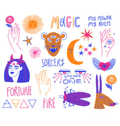 Colorful set funky esoteric elements vector