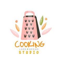 Cooking studio logo design emblem with grater can vector