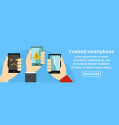 Cracked smartphone banner horizontal concept vector