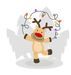 cute christmas deer funny cartoon deer with vector image