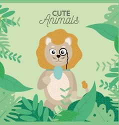 Cute lion cartoon vector
