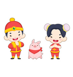 cute style chinese boy and girl with a pig vector image