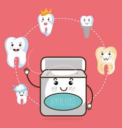 Dental care kawaii comi character vector