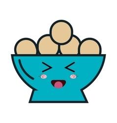 dish with eggs kawaii style vector image