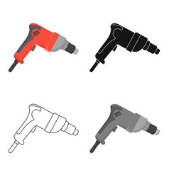 drill icon in cartoon style isolated on white vector image