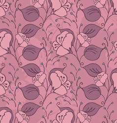Fabric design flower pink with leaves vector