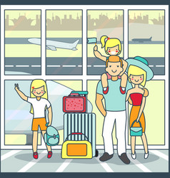 family travel air in flat vector image