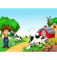 Farm background with farmer and animals vector