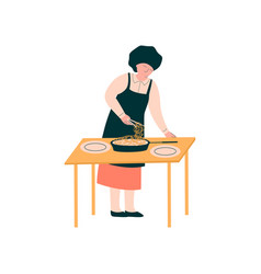 female cook preparing and serving dish on table vector image
