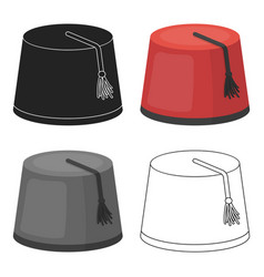 fez icon in cartoon style isolated on white vector image