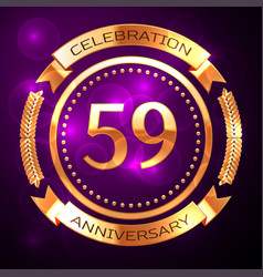 fifty nine years anniversary celebration with vector image