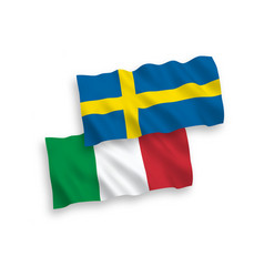 Flags italy and sweden on a white background vector