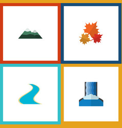 flat icon nature set of cascade peak canadian vector image