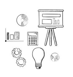 Flip chart graphs calculator idea and gears vector