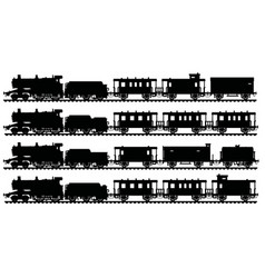 Four black silhouettes of vintage steam trains vector