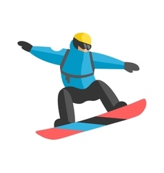 Freestyle snowboarder jumping from top of peak vector image