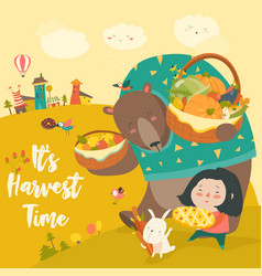 funny bear bunny and cute girl harvesting vector image