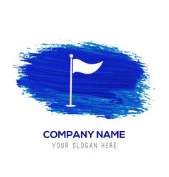 Golf flag icon - blue watercolor background vector