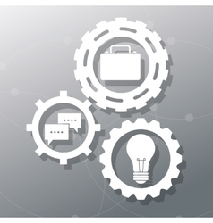 Grey gears and objects design vector image