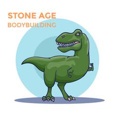 hand drawn cartoon tyrannosaur shows his biceps vector image