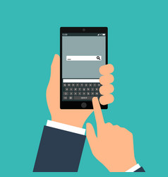hand holing black smartphone with blank speech vector image