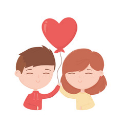 Happy valentines day cute young couple with vector
