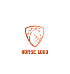 horse head shield logo on white background vector image