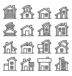 Houses buildings icons set line style vector