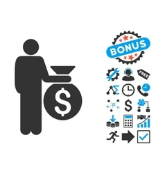 Investor Flat Icon with Bonus vector image