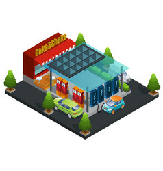 isometric gas and charger station template vector image