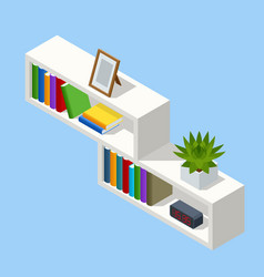 Isometric white bookshelf isolated on background vector