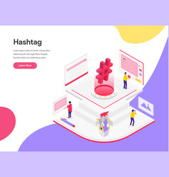 landing page template social media hashtags vector image
