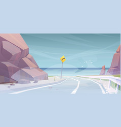 landscape with road to sea beach in fog vector image