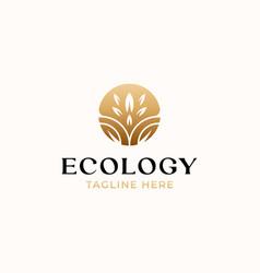 leaf golden gradient color nature logo template vector image