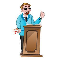 man speaking behind a podium vector image