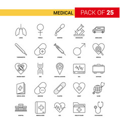 medical black line icon - 25 business outline vector image