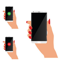Mobile phone in woman hand vector