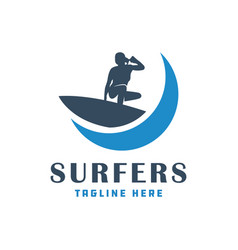 modern surfing people logo vector image