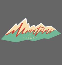 mountains logo logotype template hand drawn vector image