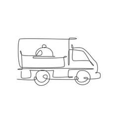 One continuous line drawing box car with tray vector