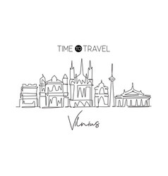 one continuous line drawing vilnius city vector image