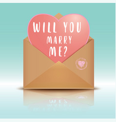 Open envelope with heart will you marry me vector